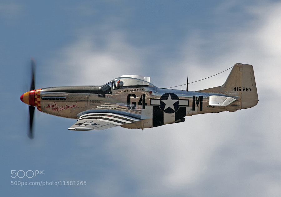 P-51D Mustang 'Ain't Misbehavin' during high speed pass at Thunder Over Michigan 2012.