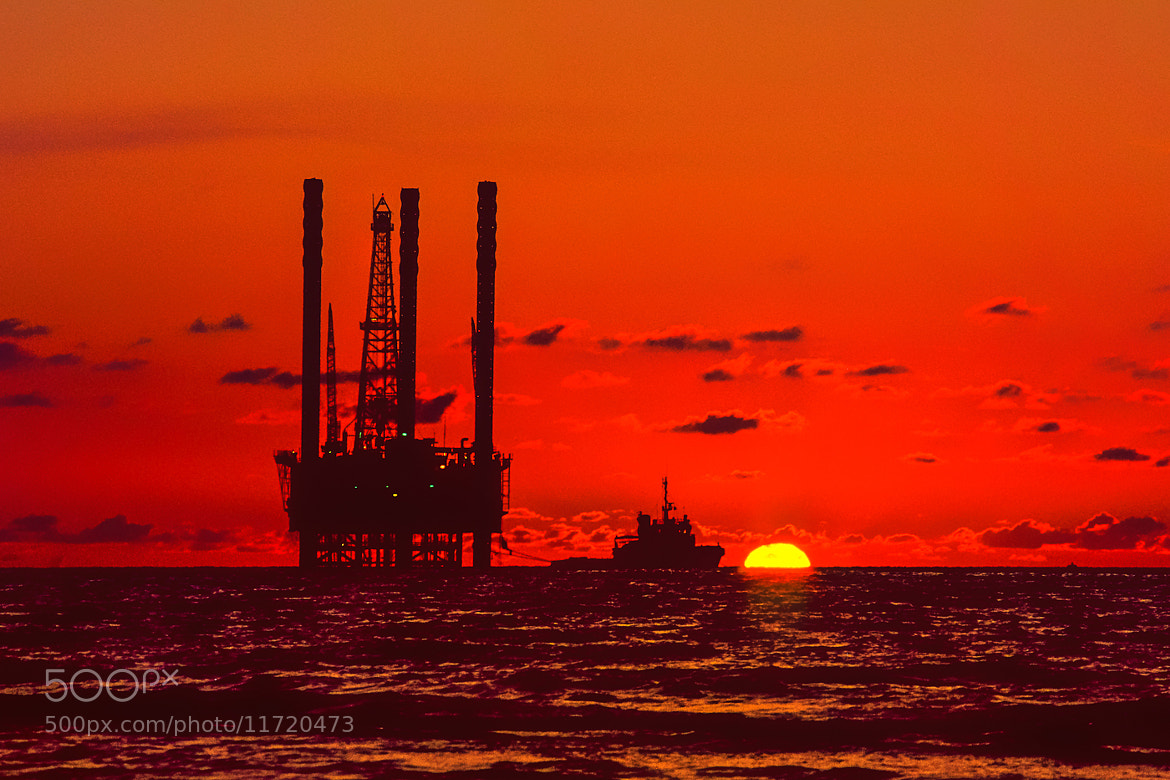 Photograph Jack-up at Sunset 2 by Richard Davis on 500px