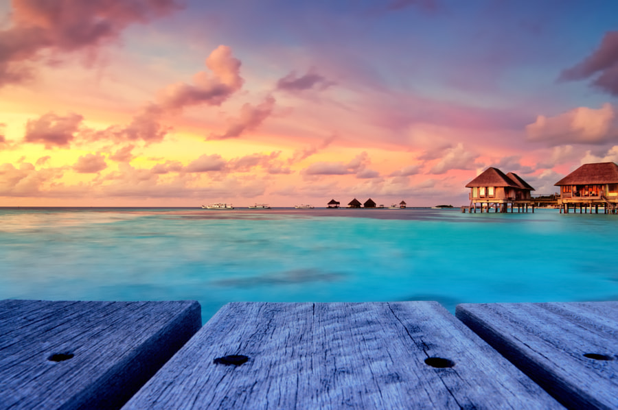Beautiful sunset in Maldives by Salawin Chanthapan on 500px.com