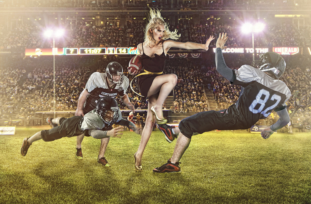 """Photograph """"The Pretty Girl & The American Football Players"""" by Jo Simoes on 500px"""