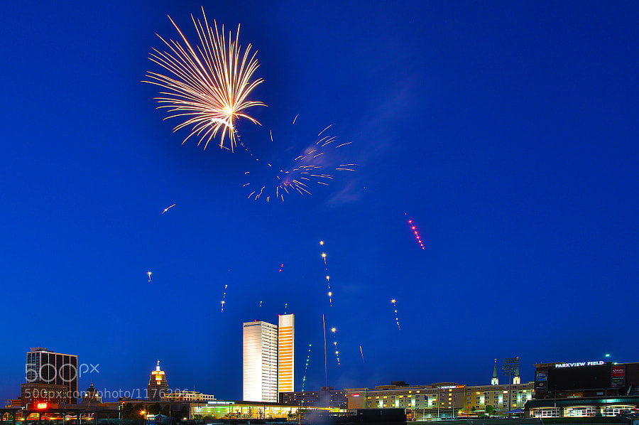 Fireworks after a Fort Wayne TinCaps game at Parview Field.