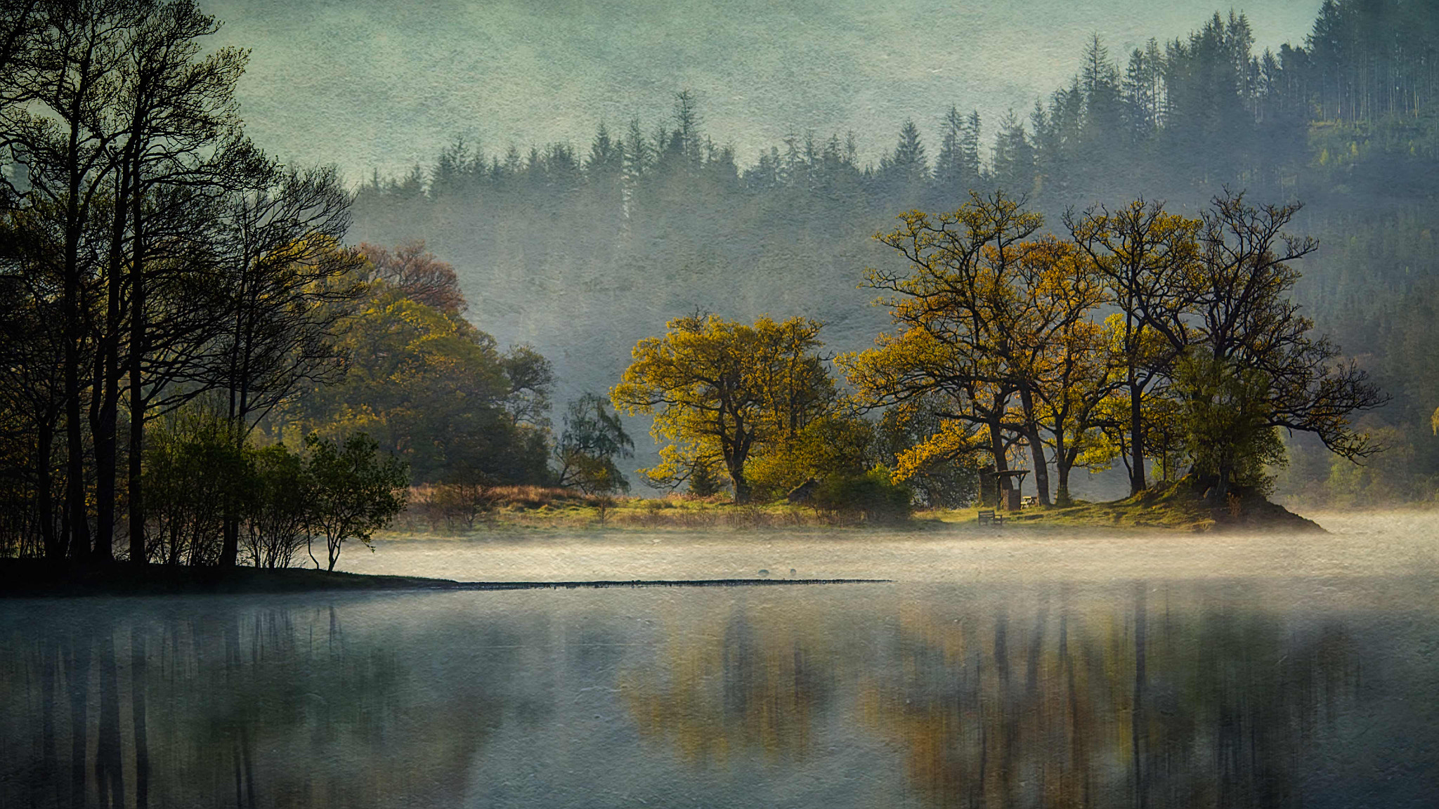 Photograph First light on Loch Achray, Trossachs (texture) by David Mould on 500px