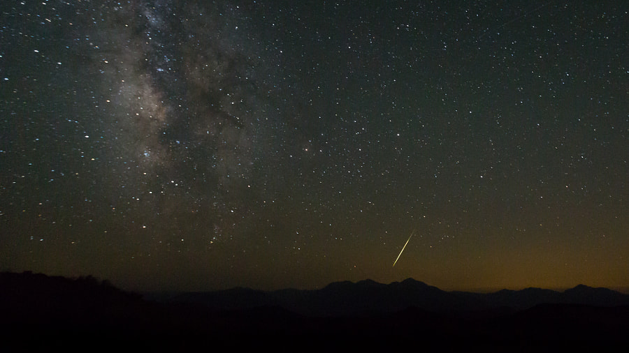 Photograph Perseid Meteor & Milky Way Over the Sierra Nevada by Jeff Sullivan on 500px