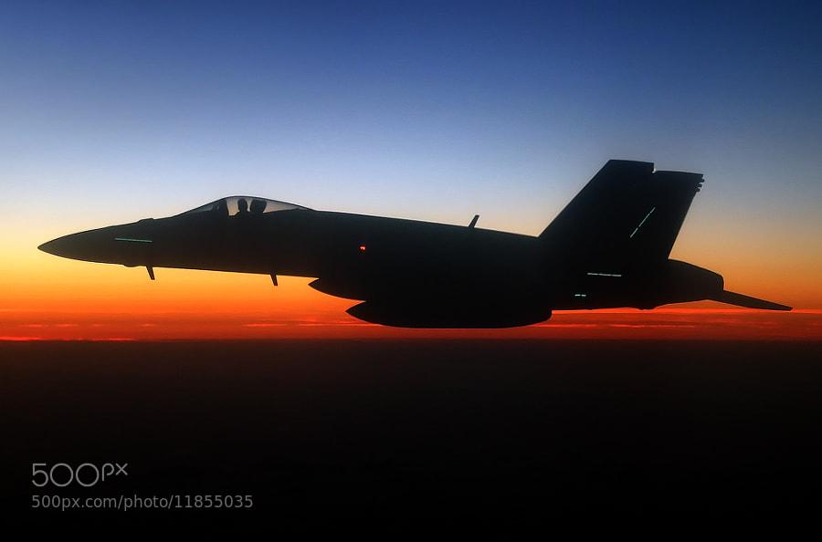 F-18C Hornet flying night ops somewhere.