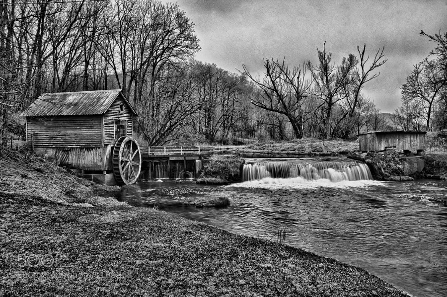 An old mill photographed in an old way - Black and White.
