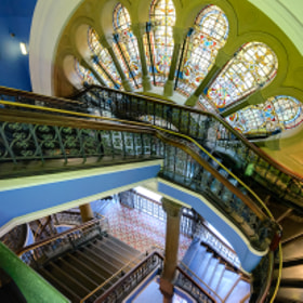 Staircase and stained glass, Queen Victoria Building, Sydney, Australia