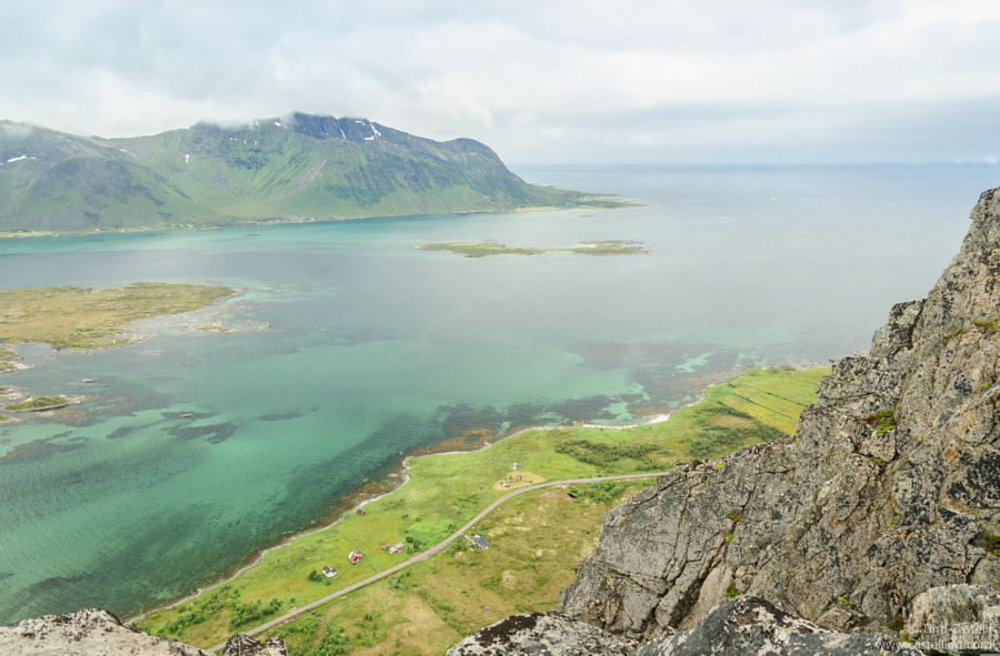 View down from top of Hoven - Lofoten islands