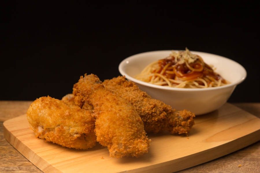 Fried Chicken with Spaghetti
