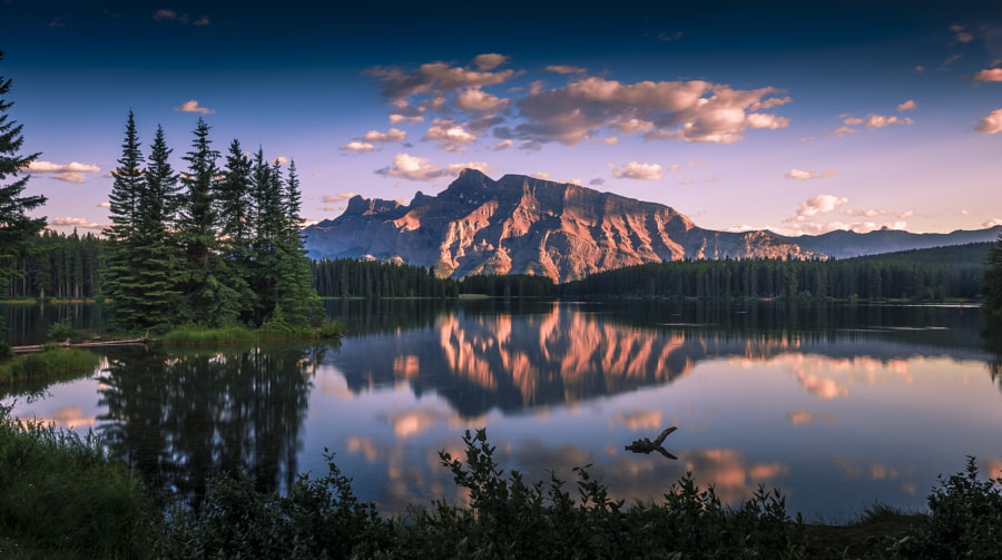 Two Jack Lake and Mt Rundle by David D on 500px.com