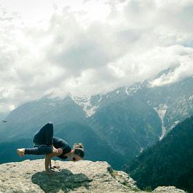Yoga in the mountains by Karan Khera