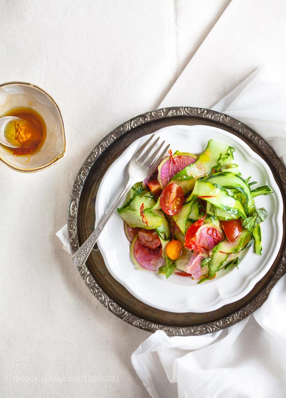 Photograph tomato, cucumber and radish salad. saffron dressing by matt wright on 500px