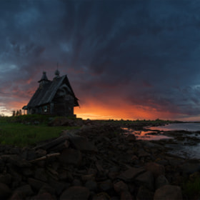 The old church on the coast of White sea
