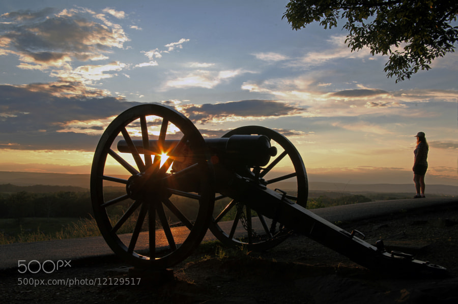 A beautiful sunset as seen from the top of Little Roundtop, Gettysburg Battlefield, Pennsylvania.  Once the scene of carnage and much suffering, the battlefield today is a place of beauty, a place to seek tranquility.