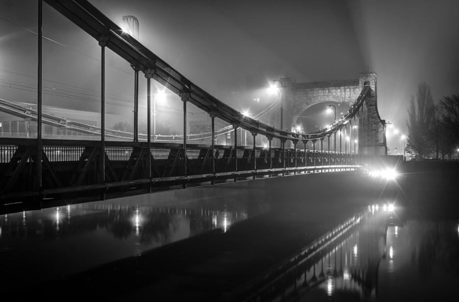 Grunwaldzki Bridge in mist