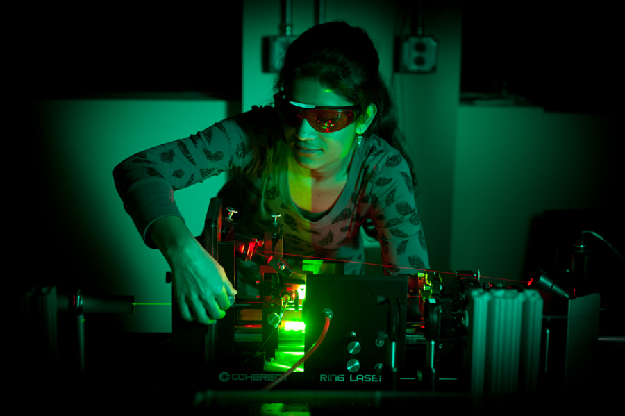 A student works in the Jet Laser Lab.