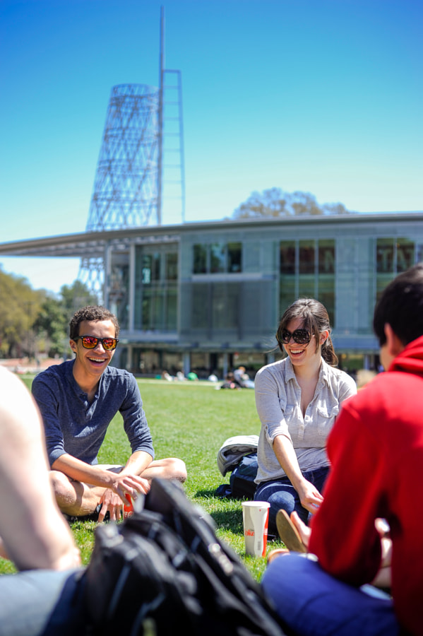 Students enjoy the weather outside of the Talley S