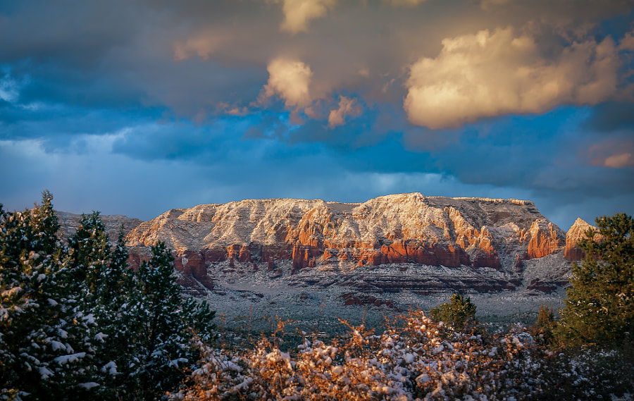Sedona Sunset in Snow by Pat Kofahl on 500px.com