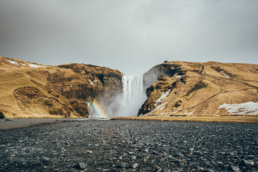 Skógafoss with a rainbow on top by s1000