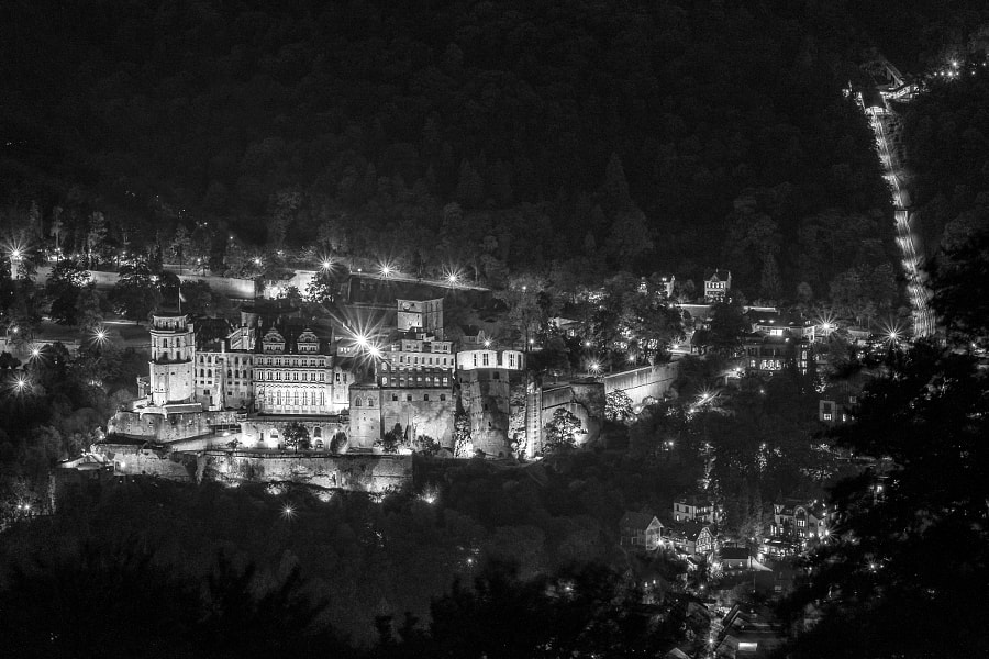 Photograph Heidelberg Castle at Night (b&w edition) by drawwithlight on 500px