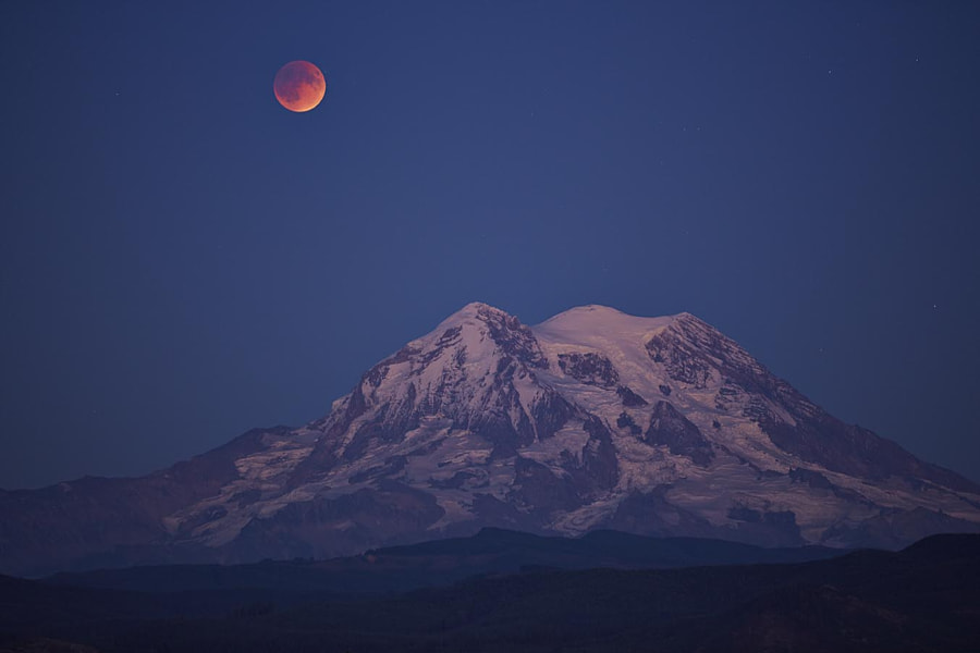 Photograph Blood Moon over Mt. Rainier by Barry Gregg on 500px