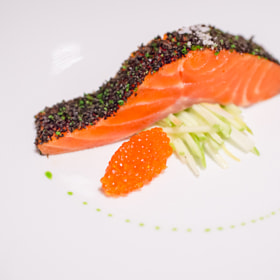 Confit of Petuna ocean trout with konbu crust, celery, and unpasteurised ocean trout roe, Tetsuya's, Sydney, Australia