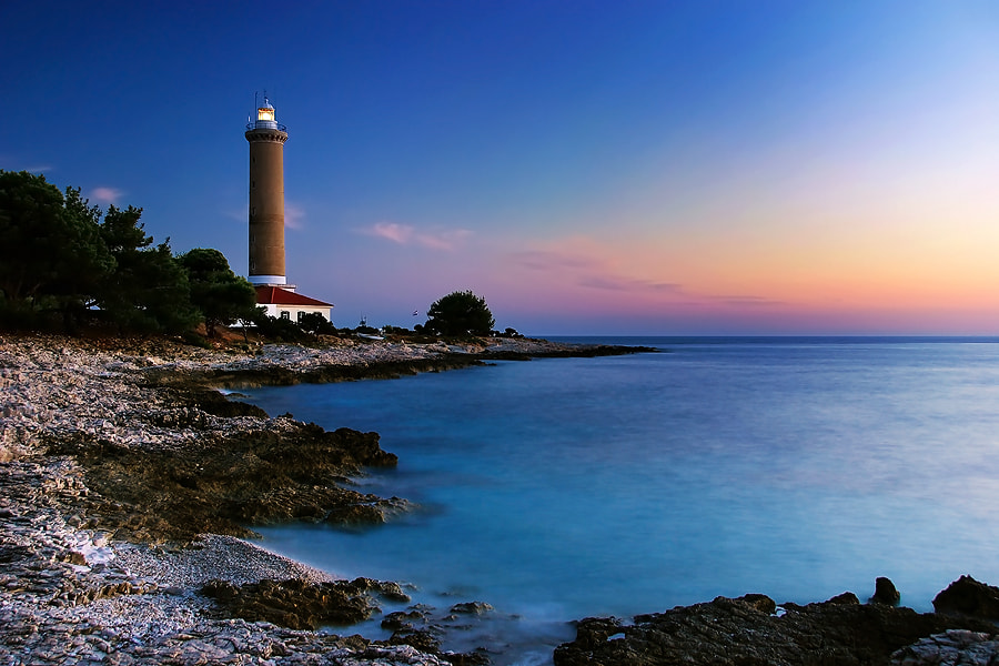 Dusk on the cape Veli Rat, Dugi otok island, Croatia