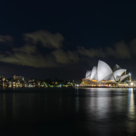 Sydney Opera House lit at night