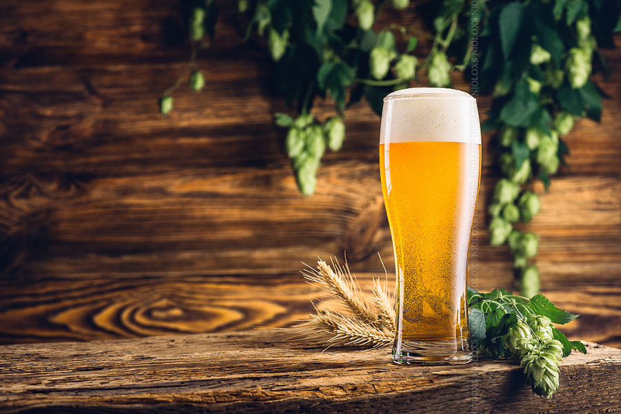 Glass of beer on old wooden table and wooden background by Kamil Zabłocki on 500px.com