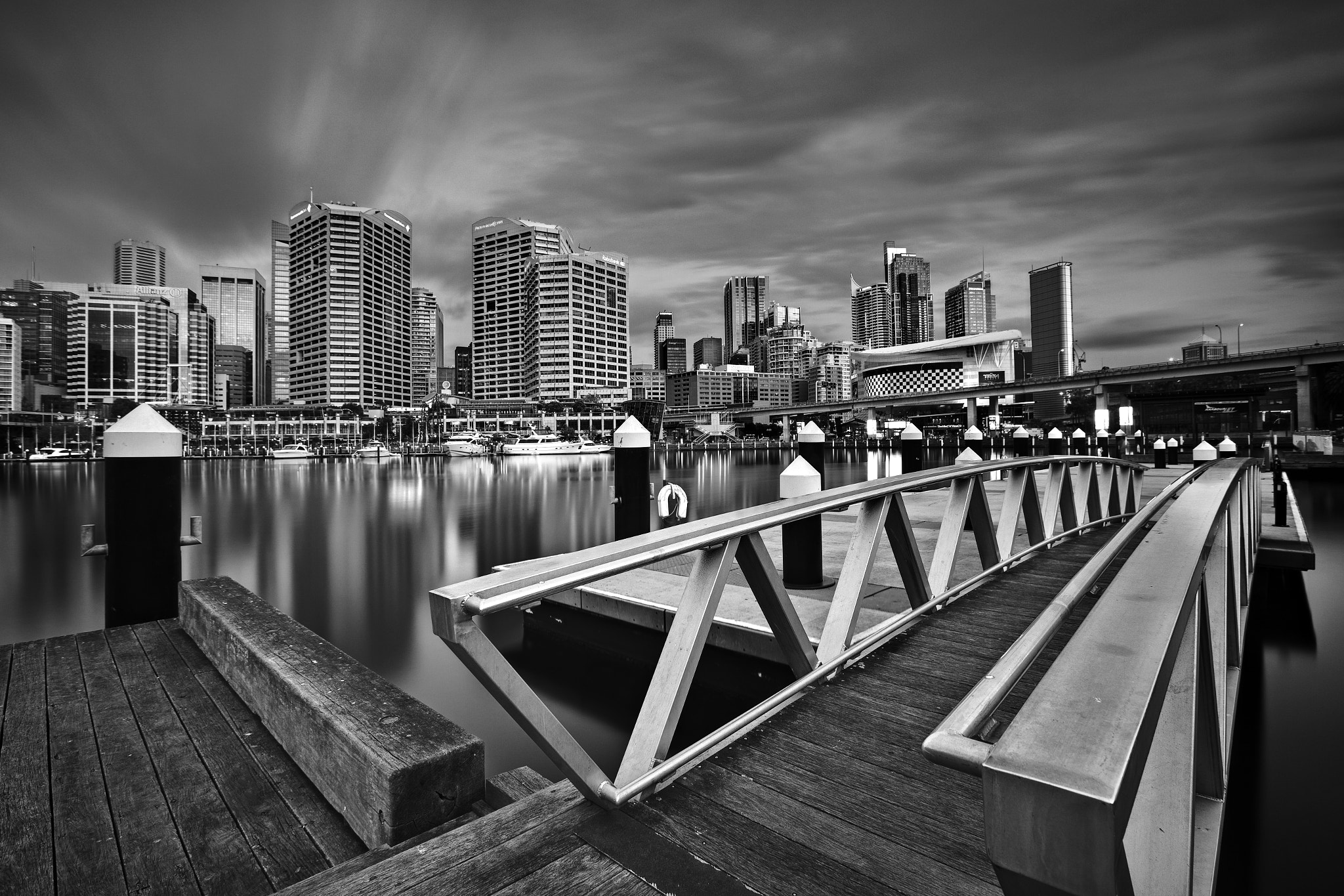 Photograph Darling Harbour by Twilight (B&W) by Xenedis  on 500px