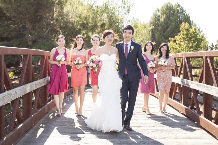 A relaxing stroll on the bridge with the stunning bridal party!