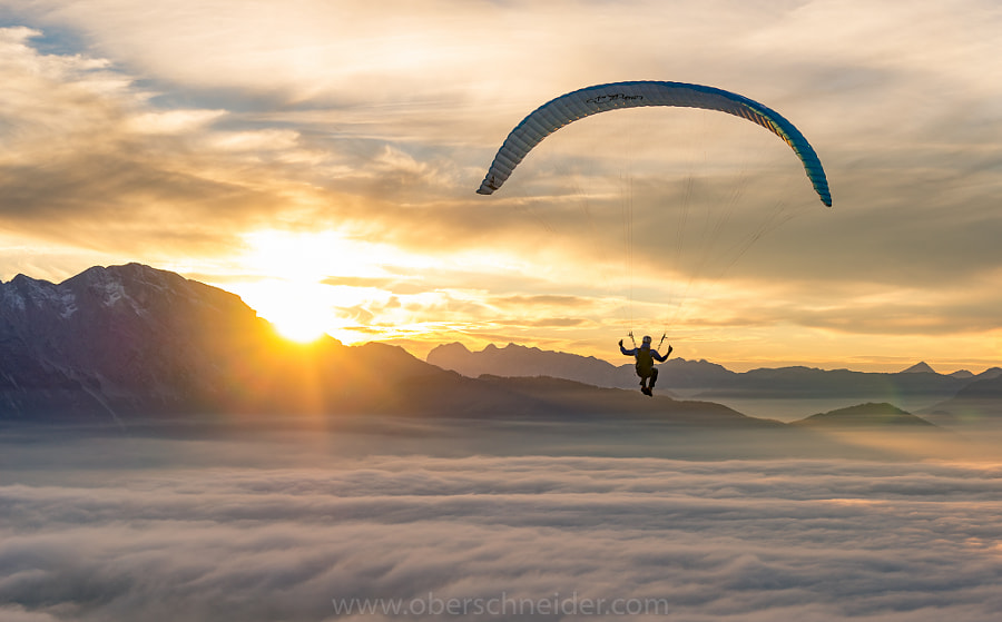 Sunset Paragliding above the Clouds by Christoph Oberschneider