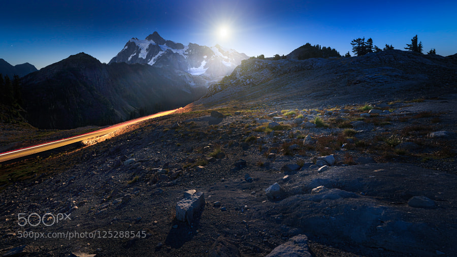Mount Shuksan illuminated by full moon