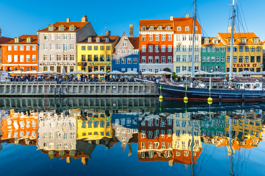 Nyhavn mirrored in the evening in Copenhagen