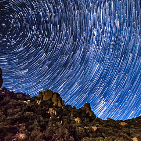 star trails on the rocks