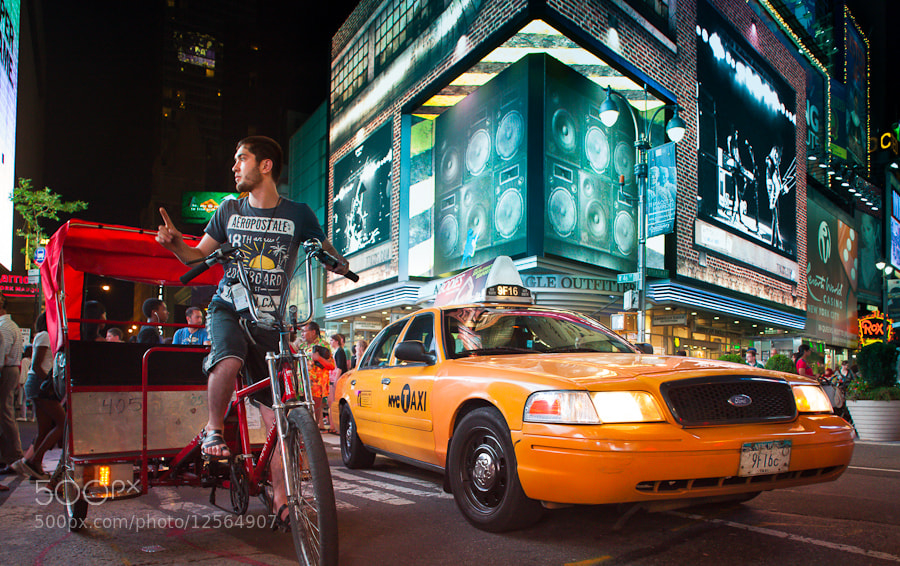Photograph Bike & Cab, Times Square, New York City by Stanton Champion on 500px