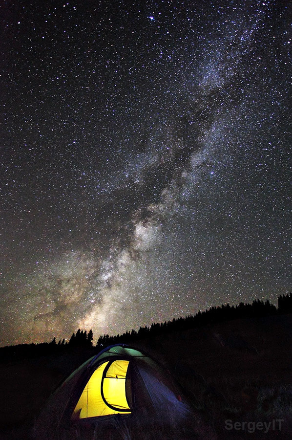 Photograph Night sky with Milky Way and light in tent by Sergiy Trofimov on 500px