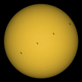 This was a big challenge. This transit of the International Space Station in front of the sun lasts only 0.63 sec. However, I managed the perfect timing and get 4 pictures out of the continuous shooting mode.