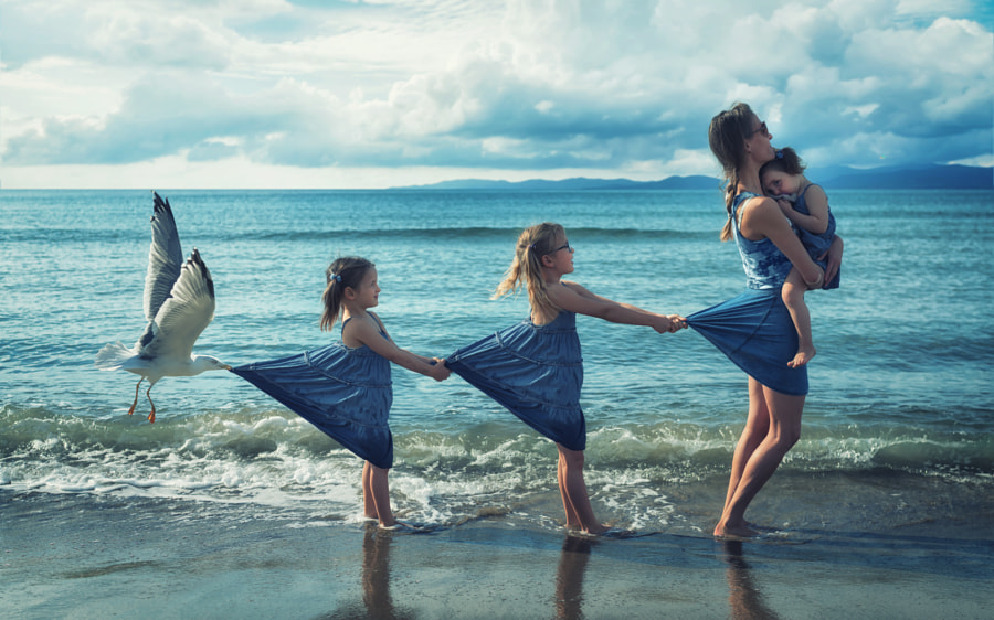 Just a seagull pulling my girls by John Wilhelm is a photoholic on 500px.com