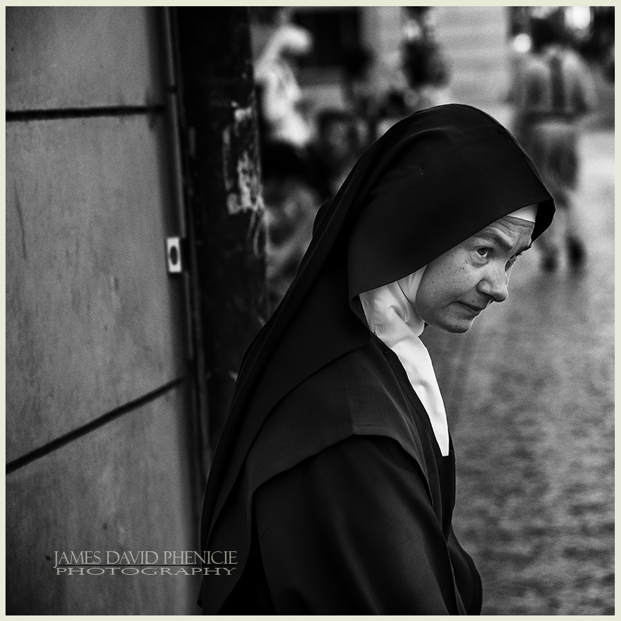 Nun at Bus Stop