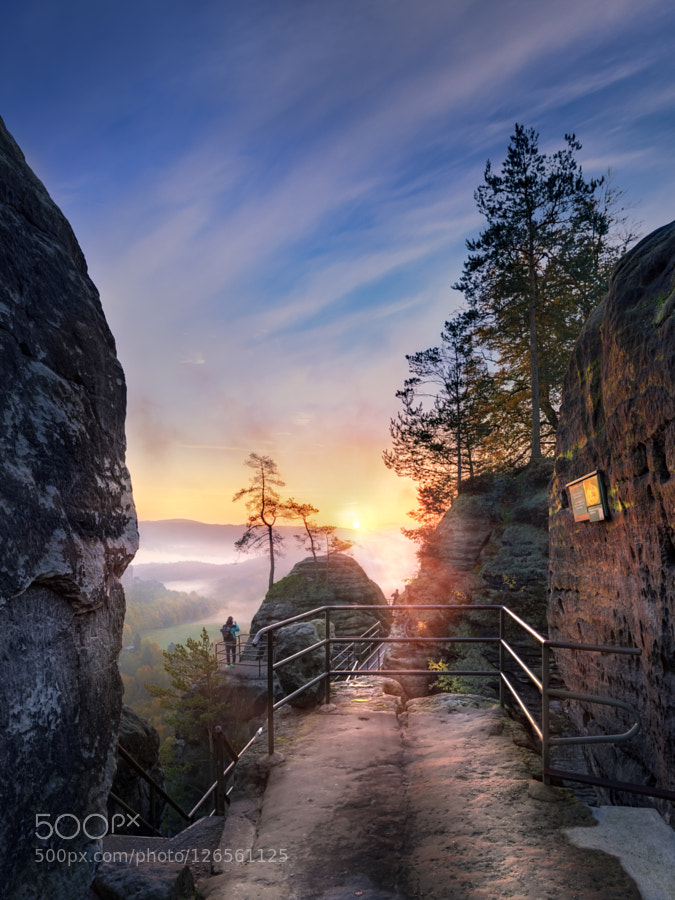 Sunrise in Elbe Sandstone Mountains