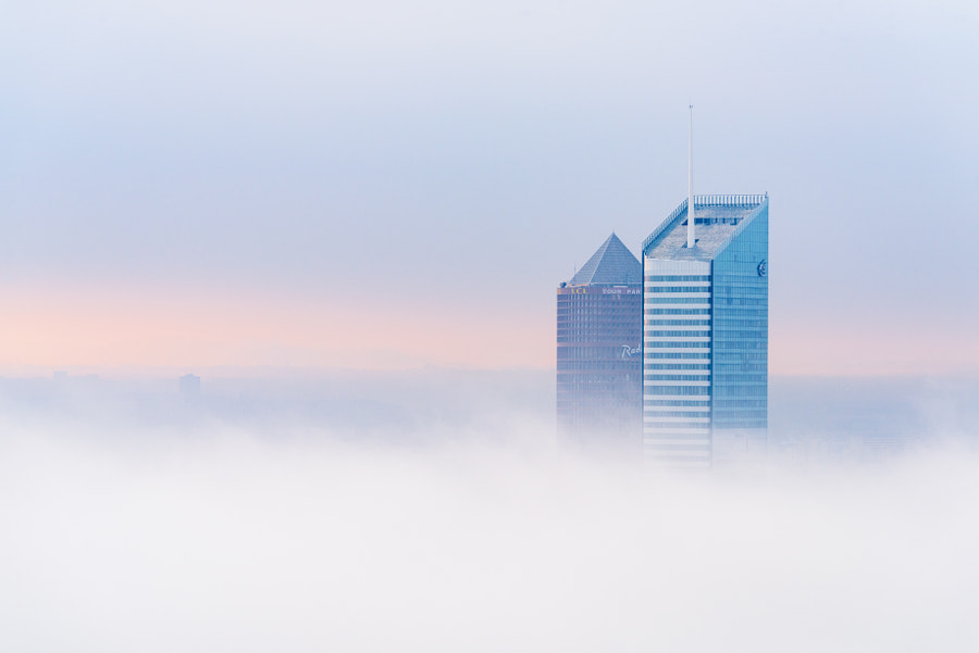 Lyon awakening from the fog