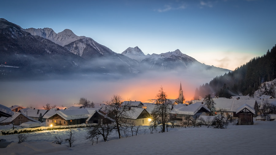 Foggy Winter Sunset by Gerald Köstl on 500px.com