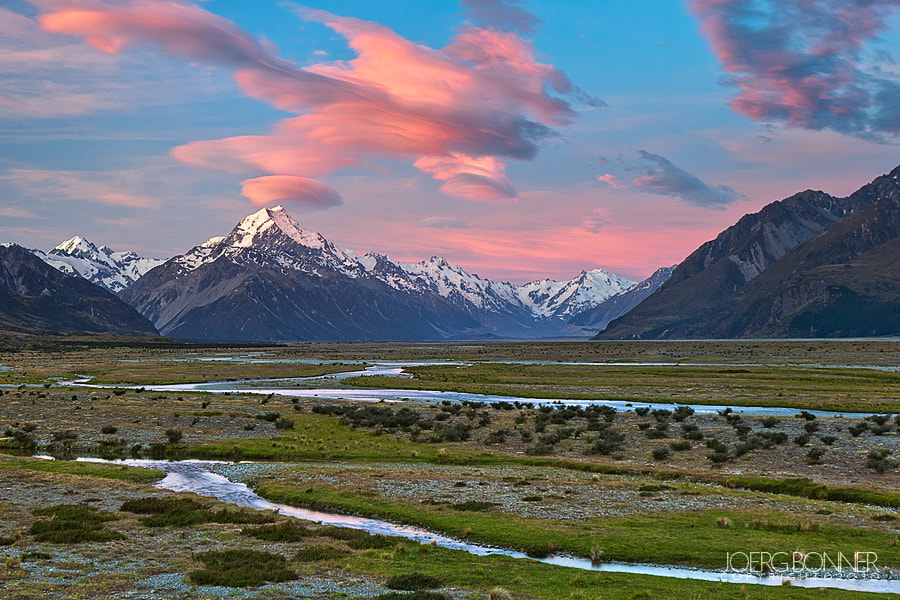 Photograph Lenticular Clouds above Aoraki/Mt. Cook and Tasman Valley by Joerg Bonner on 500px