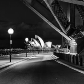 Opera House under the Harbour Bridge, Sydney, Australia