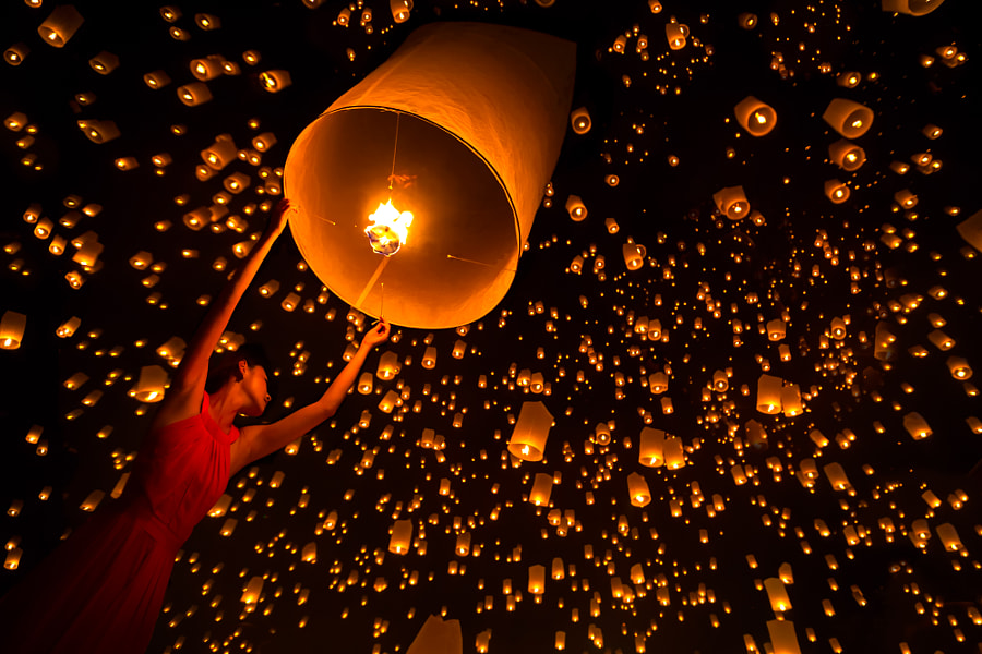 Yi Peng festival by Krunja :) on 500px.com