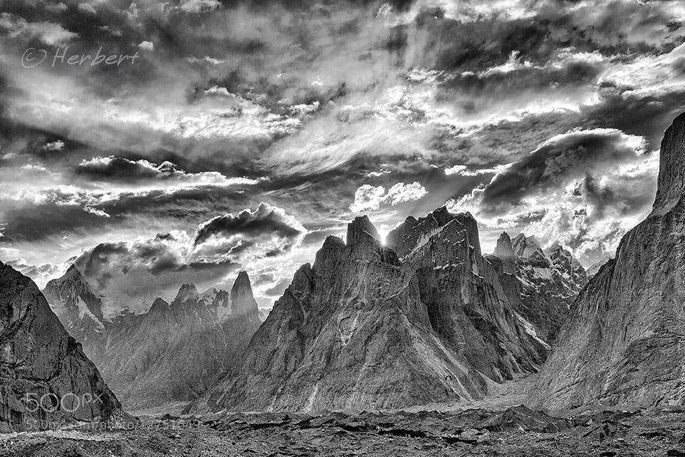 Photograph Trango Towers B&W by Herbert Wong on 500px