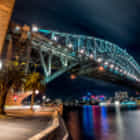 Lavender Bay under the Harbour Bridge at night, Sydney, Australia