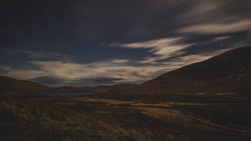 Pitch-Black Scotland at night