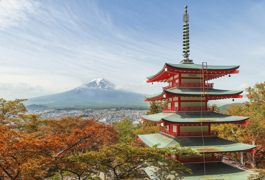 Travel destination - Mt. Fuji with red pagoda in Spring, Fujiyos by Prasit Rodphan on 500px.com
