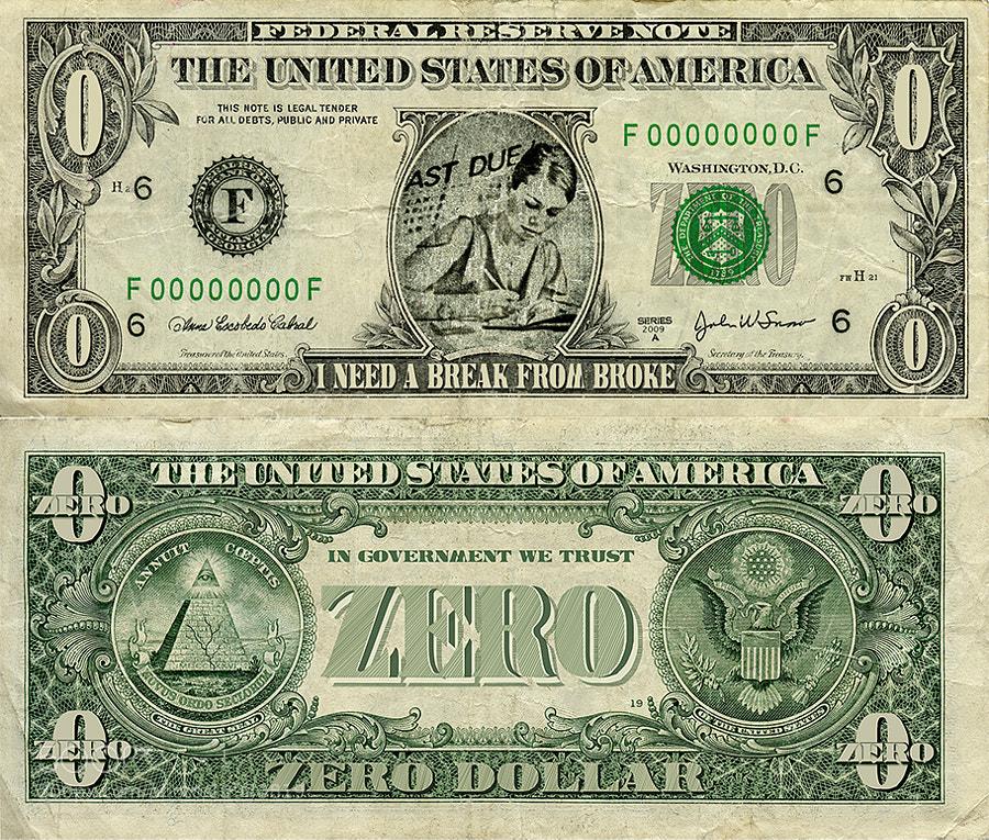 Zero dollar bill
